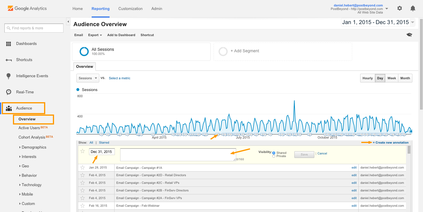 Add Annotations to Google Analytics